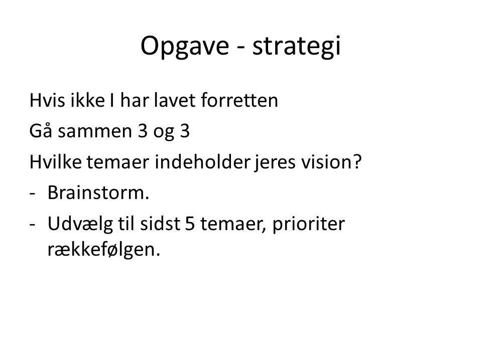 Opgave - strategi Hvis ikke I har lavet forretten Gå sammen 3 og 3 Hvilke temaer indeholder jeres vision.