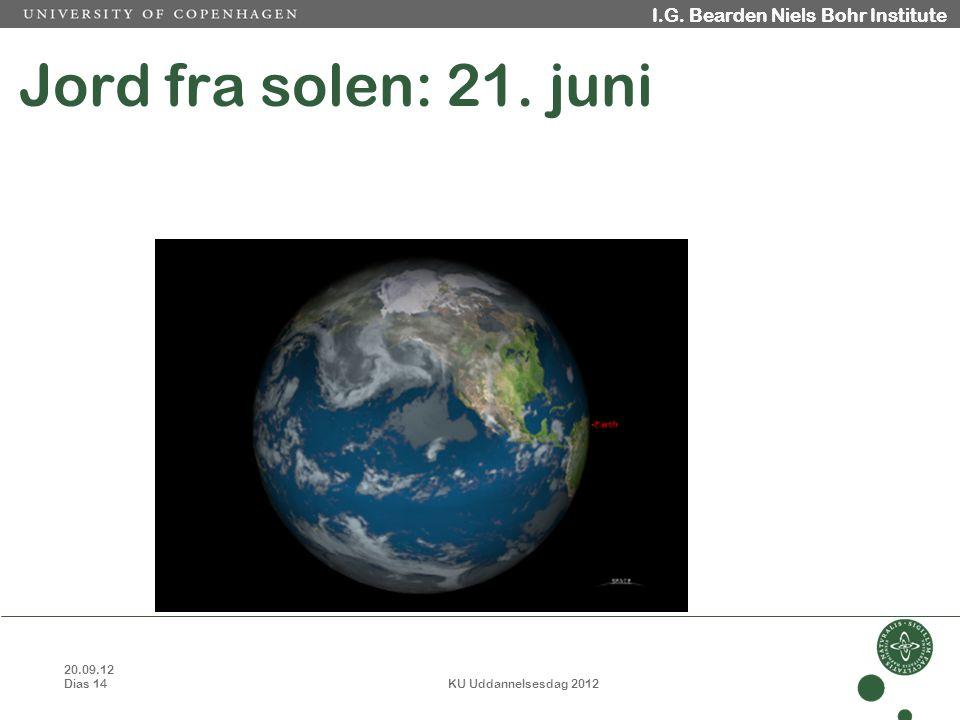 20.09.12 Dias 14 KU Uddannelsesdag 2012 I.G. Bearden Niels Bohr Institute Jord fra solen: 21.