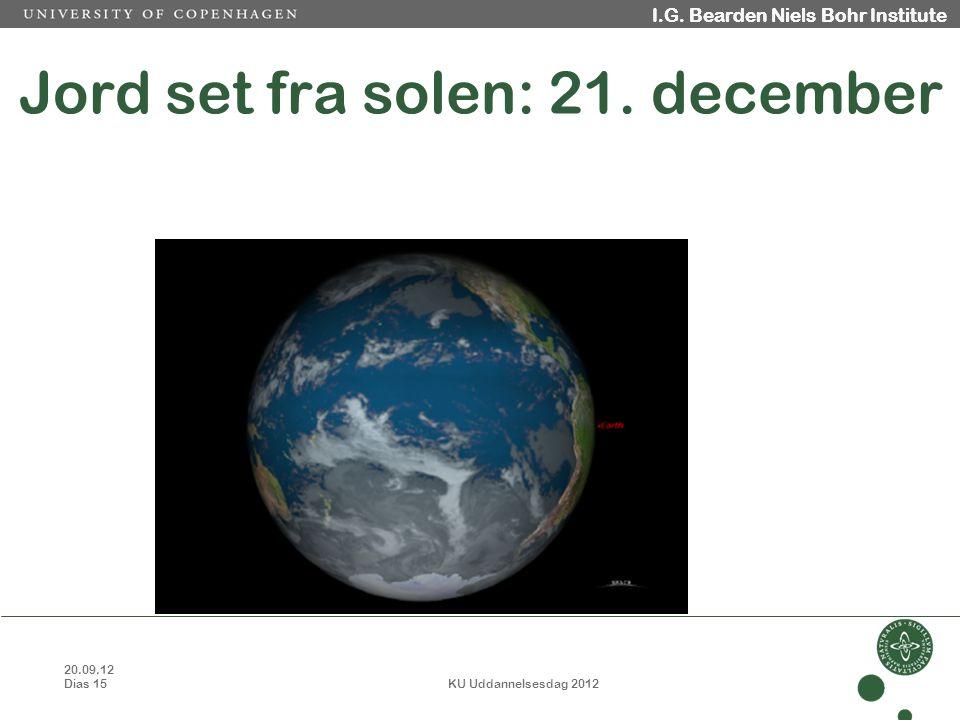 20.09.12 Dias 15 KU Uddannelsesdag 2012 I.G. Bearden Niels Bohr Institute Jord set fra solen: 21.