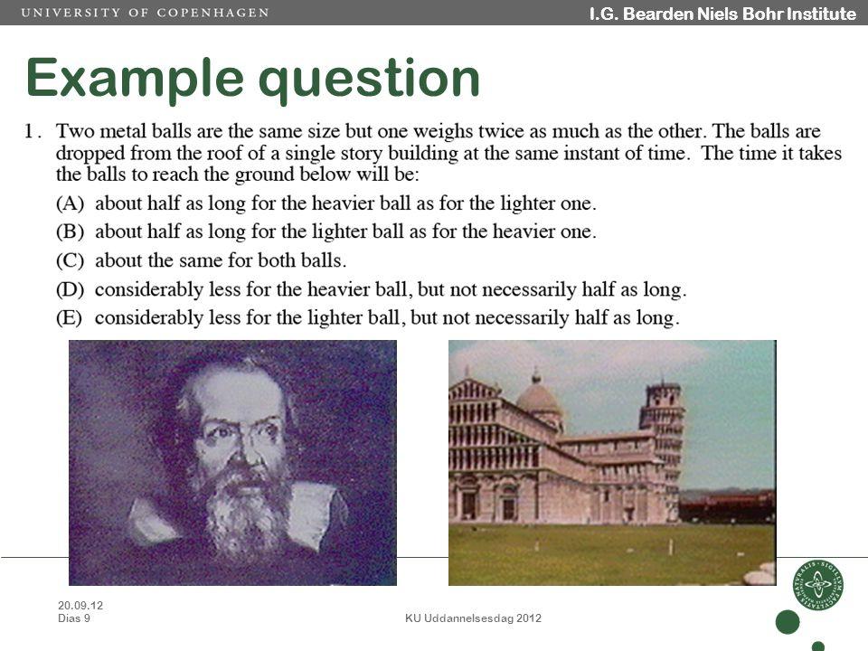 20.09.12 Dias 9 KU Uddannelsesdag 2012 I.G. Bearden Niels Bohr Institute Example question I.G.