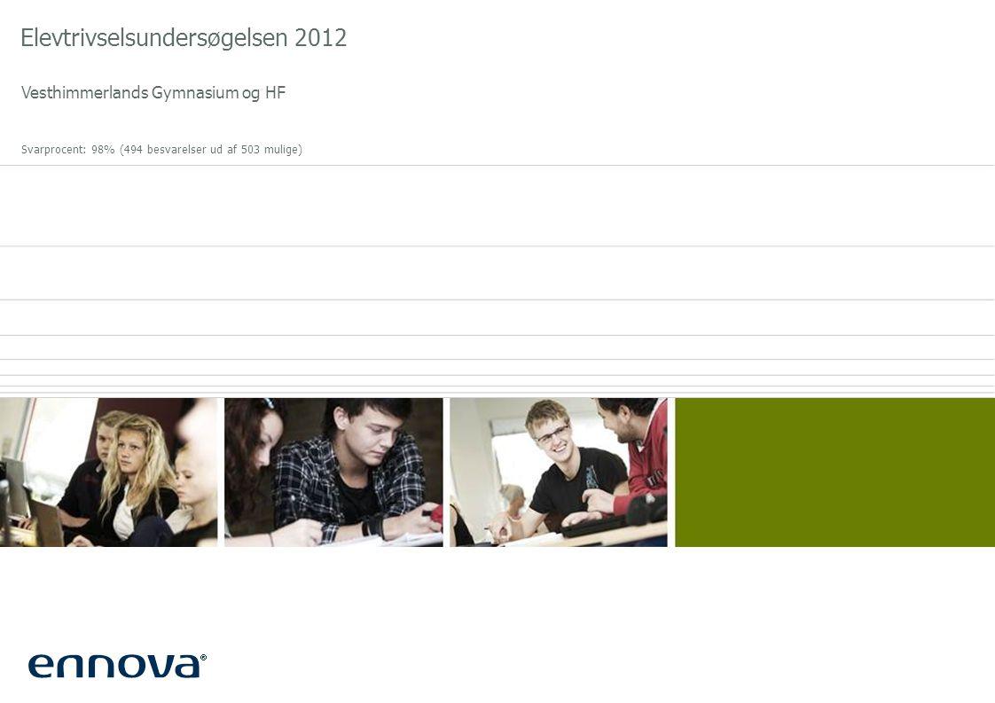Elevtrivselsundersøgelsen 2012 Vesthimmerlands Gymnasium og HF Svarprocent: 98% (494 besvarelser ud af 503 mulige)