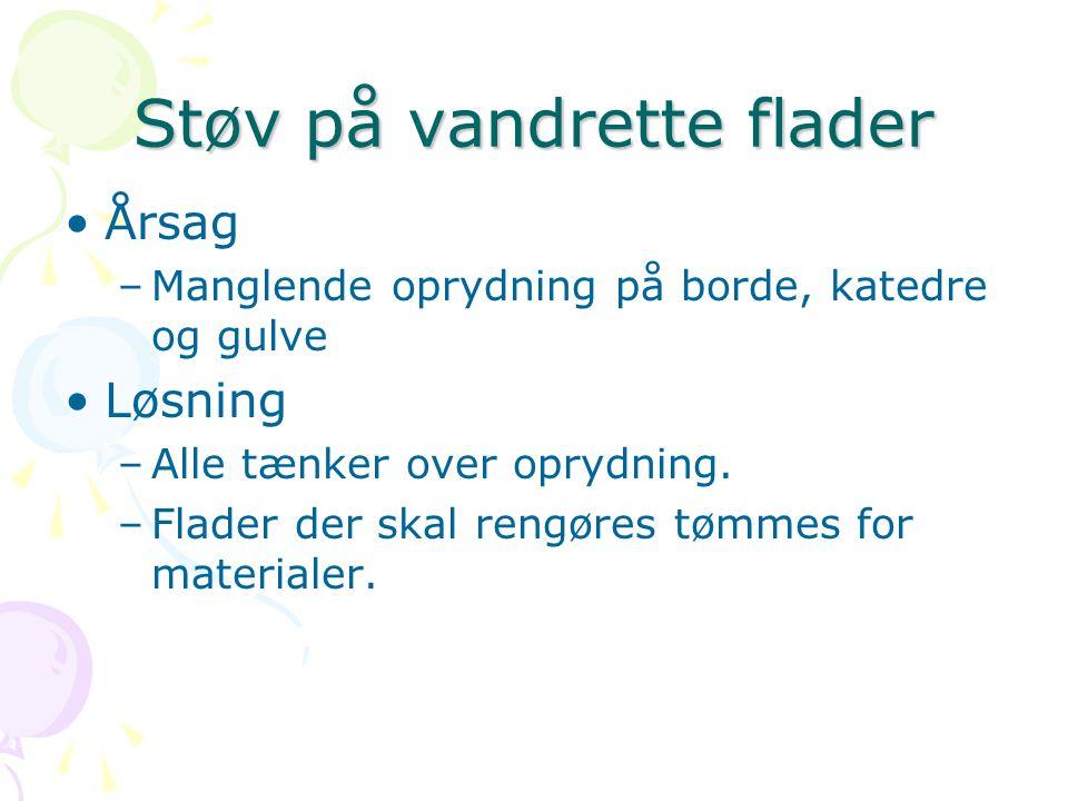 Støv på vandrette flader Årsag –Manglende oprydning på borde, katedre og gulve Løsning –Alle tænker over oprydning.
