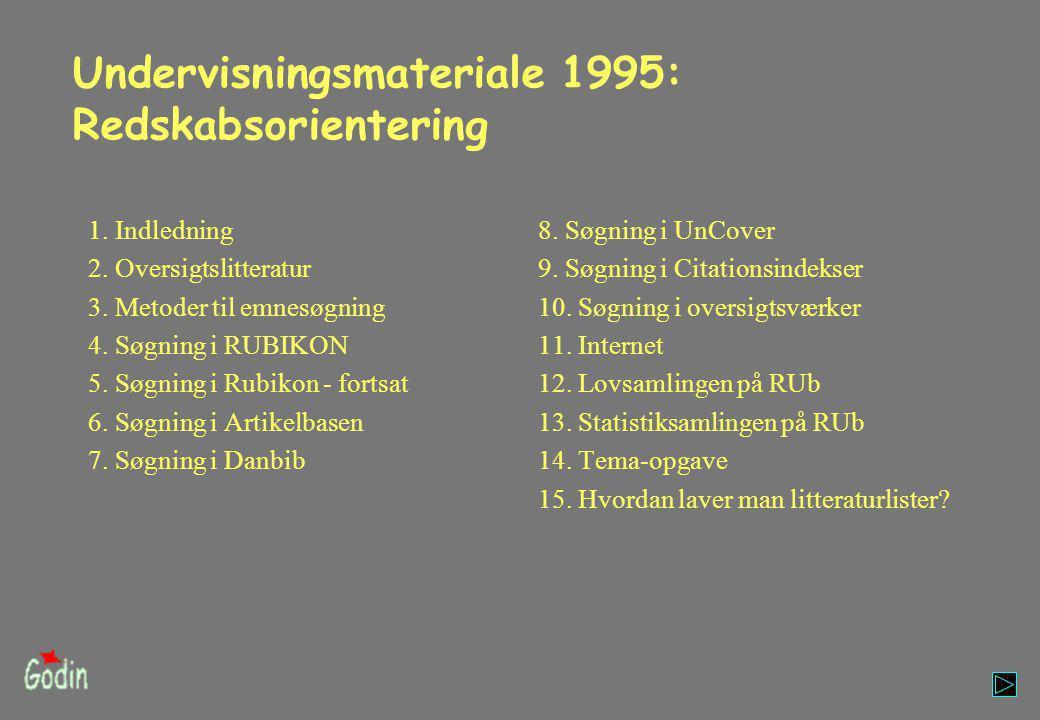 Undervisningsmateriale 1995: Redskabsorientering 1.