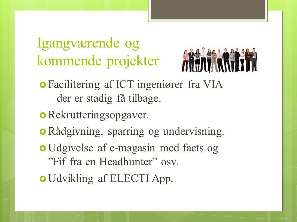 Igangværende og kommende projekter  Facilitering af ICT ingeniører fra VIA – der er stadig få tilbage.