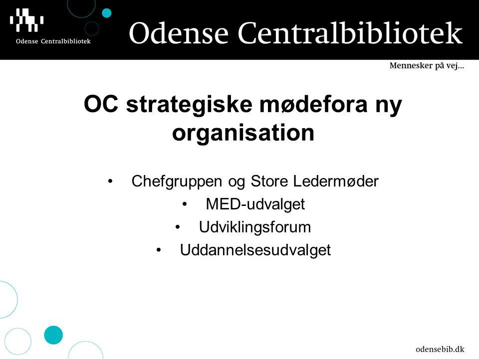 OC strategiske mødefora ny organisation Chefgruppen og Store Ledermøder MED-udvalget Udviklingsforum Uddannelsesudvalget