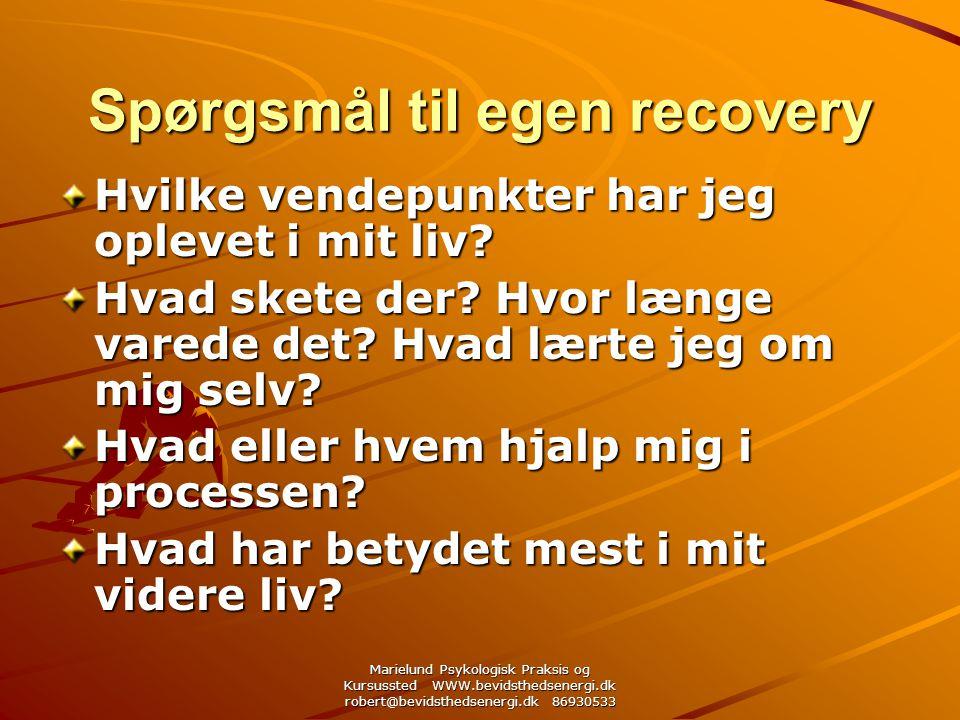 Marielund Psykologisk Praksis og Kursussted WWW.bevidsthedsenergi.dk robert@bevidsthedsenergi.dk 86930533 Spørgsmål til egen recovery Hvilke vendepunkter har jeg oplevet i mit liv.
