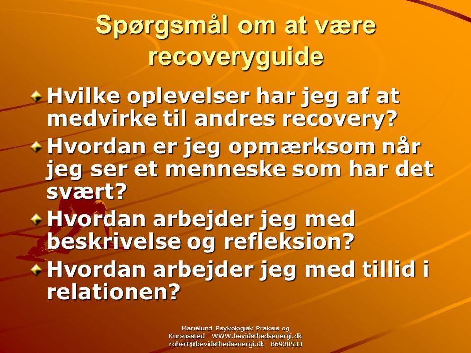 Marielund Psykologisk Praksis og Kursussted WWW.bevidsthedsenergi.dk robert@bevidsthedsenergi.dk 86930533 Spørgsmål om at være recoveryguide Hvilke oplevelser har jeg af at medvirke til andres recovery.