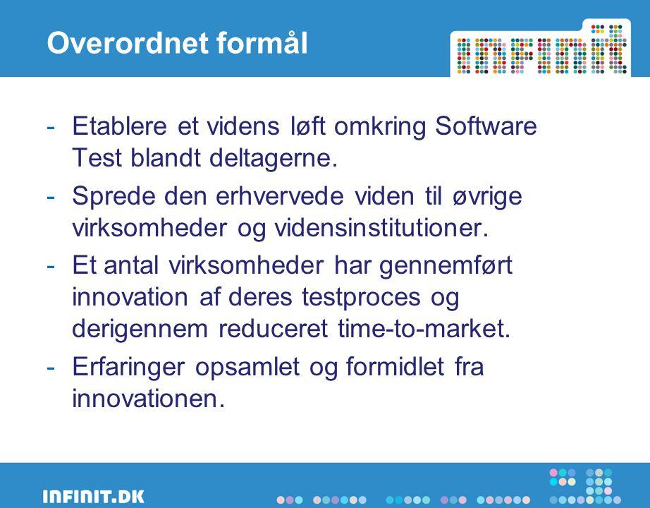 Overordnet formål -Etablere et videns løft omkring Software Test blandt deltagerne.