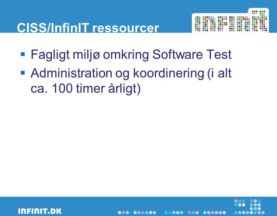 CISS/InfinIT ressourcer  Fagligt miljø omkring Software Test  Administration og koordinering (i alt ca.