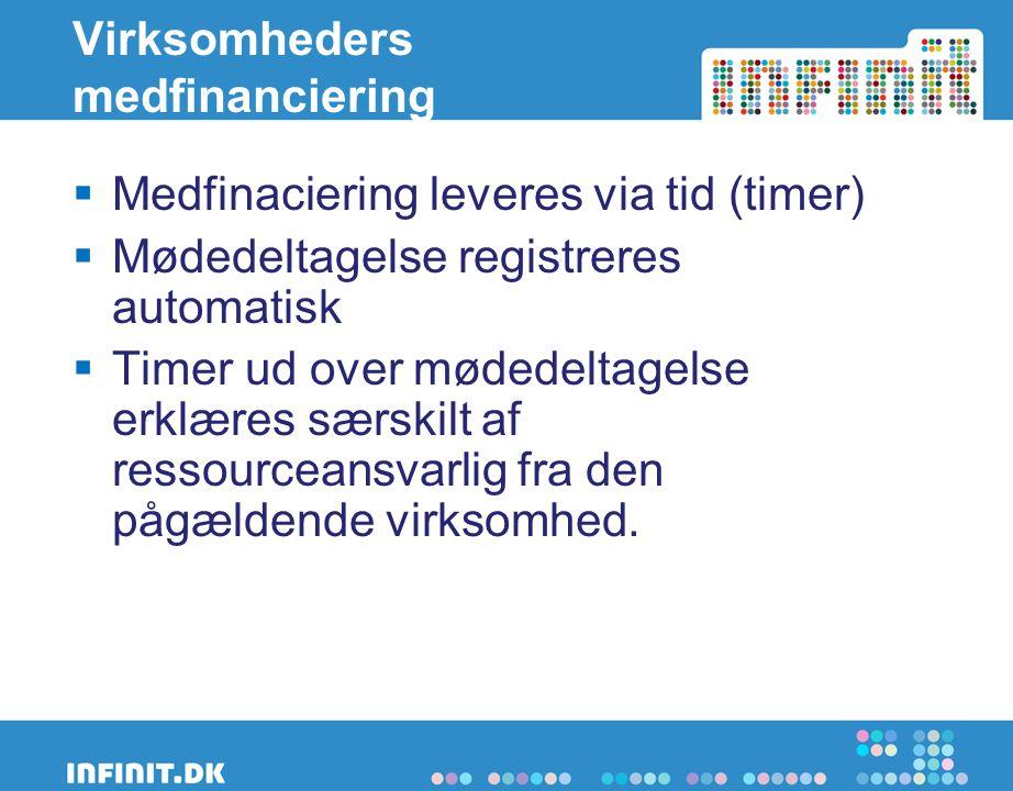 Virksomheders medfinanciering  Medfinaciering leveres via tid (timer)  Mødedeltagelse registreres automatisk  Timer ud over mødedeltagelse erklæres særskilt af ressourceansvarlig fra den pågældende virksomhed.