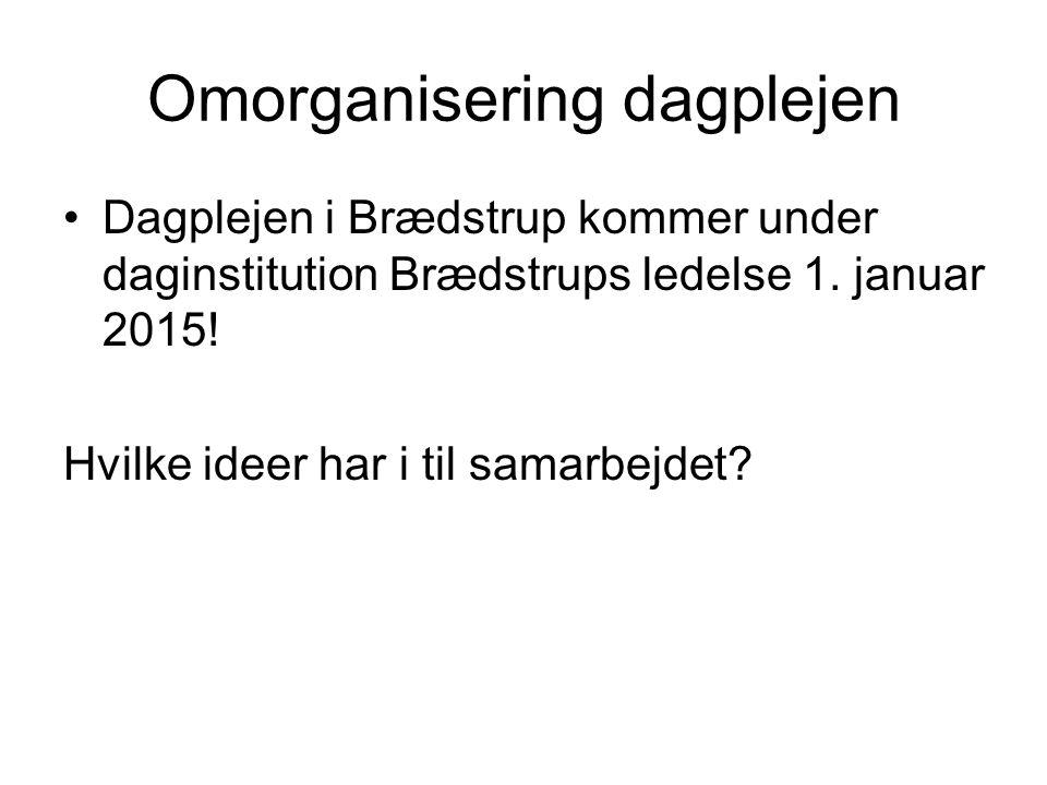 Omorganisering dagplejen Dagplejen i Brædstrup kommer under daginstitution Brædstrups ledelse 1.