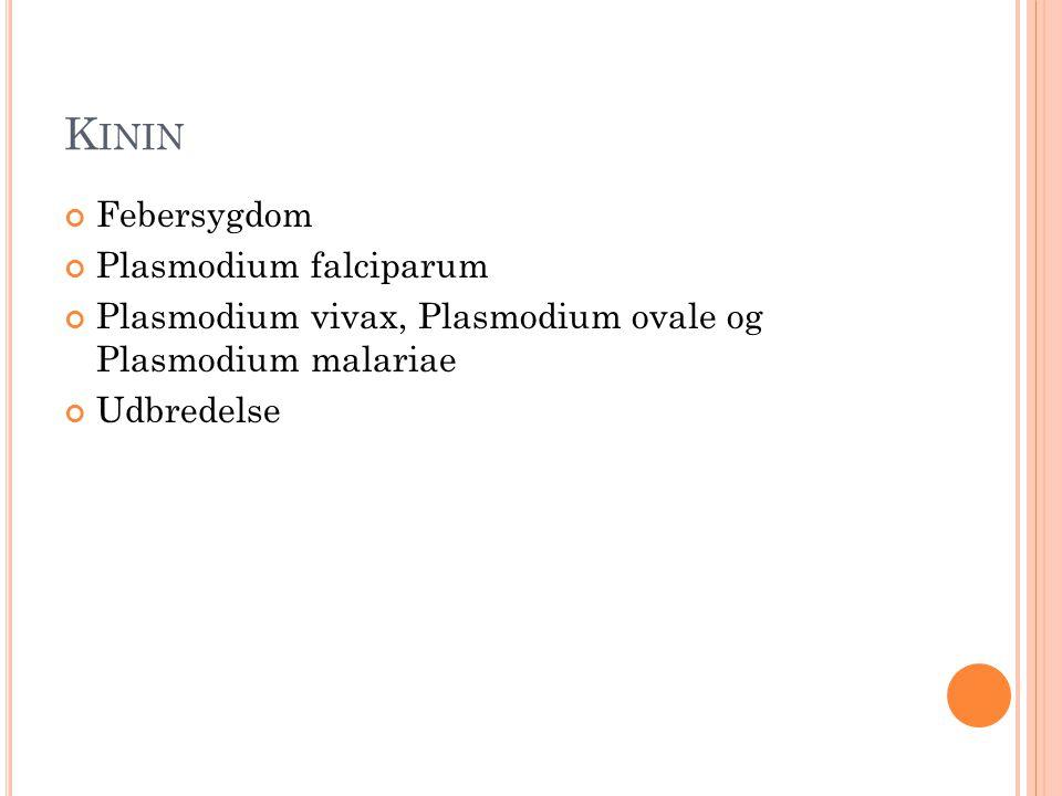 K ININ Febersygdom Plasmodium falciparum Plasmodium vivax, Plasmodium ovale og Plasmodium malariae Udbredelse