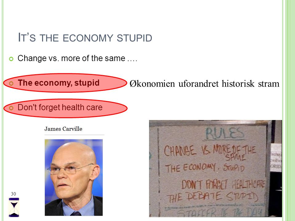 I T ' S THE ECONOMY STUPID Change vs. more of the same ….