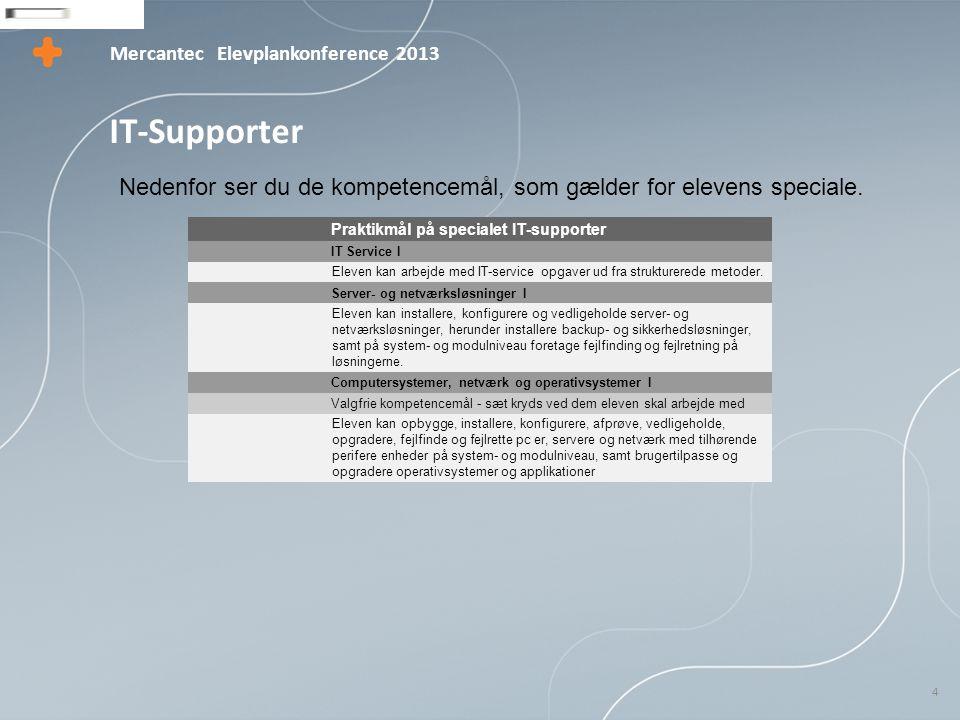 Mercantec 4 Elevplankonference 2013 IT-Supporter Praktikmål på specialet IT-supporter IT Service I Eleven kan arbejde med IT-service opgaver ud fra strukturerede metoder.