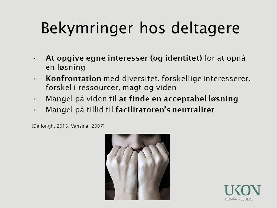 At opgive egne interesser (og identitet) for at opnå en løsning Konfrontation med diversitet, forskellige interesserer, forskel i ressourcer, magt og viden Mangel på viden til at finde en acceptabel løsning Mangel på tillid til facilitatoren's neutralitet (De Jongh, 2013; Vansina, 2007) Bekymringer hos deltagere
