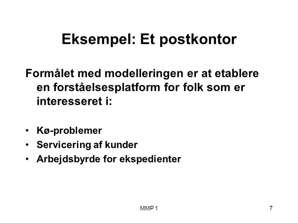 MMP 17 Eksempel: Et postkontor Formålet med modelleringen er at etablere en forståelsesplatform for folk som er interesseret i: Kø-problemer Servicering af kunder Arbejdsbyrde for ekspedienter