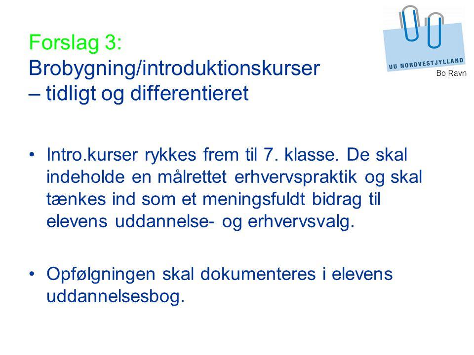 Bo Ravn Forslag 3: Brobygning/introduktionskurser – tidligt og differentieret Intro.kurser rykkes frem til 7.