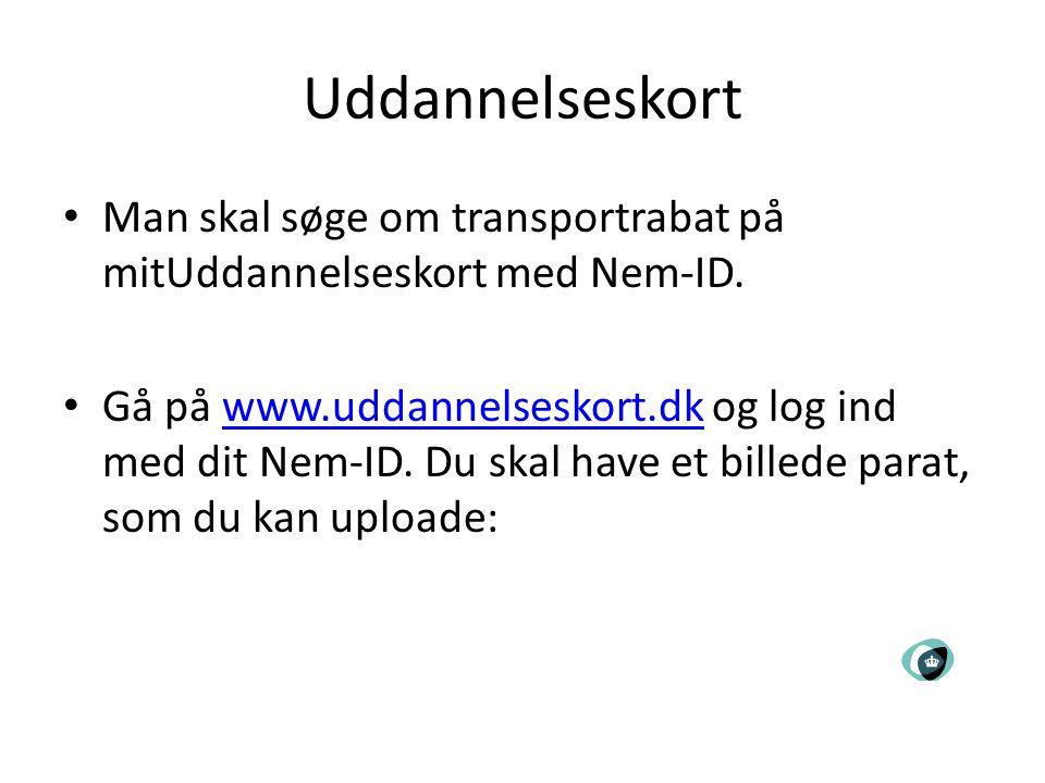 Uddannelseskort Man skal søge om transportrabat på mitUddannelseskort med Nem-ID.