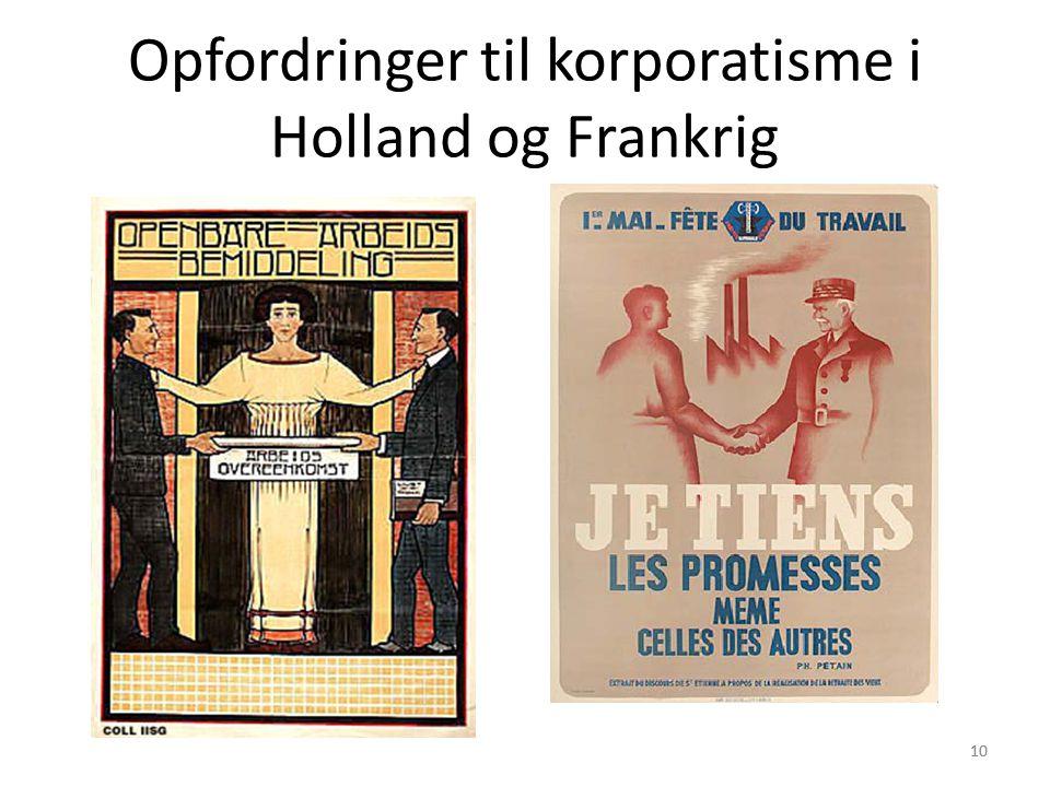 10 Opfordringer til korporatisme i Holland og Frankrig