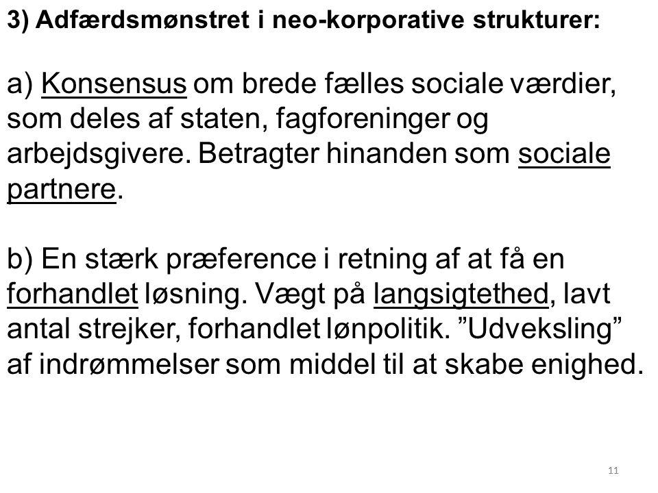 11 3) Adfærdsmønstret i neo-korporative strukturer: a) Konsensus om brede fælles sociale værdier, som deles af staten, fagforeninger og arbejdsgivere.