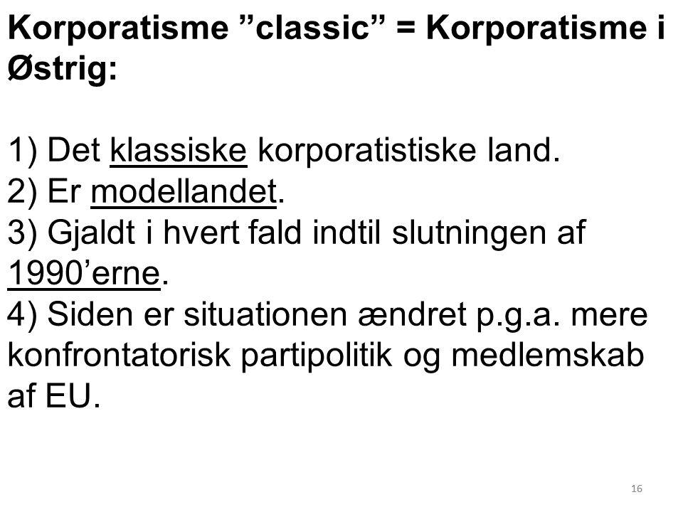 16 Korporatisme classic = Korporatisme i Østrig: 1) Det klassiske korporatistiske land.