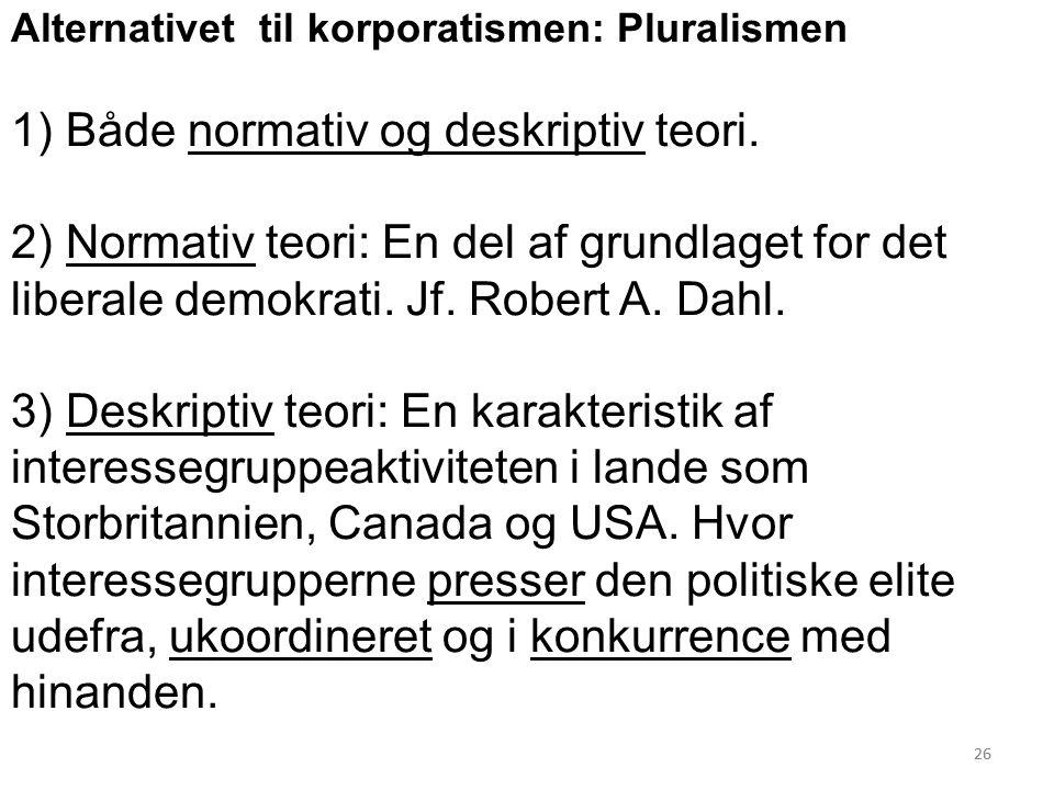 26 Alternativet til korporatismen: Pluralismen 1) Både normativ og deskriptiv teori.