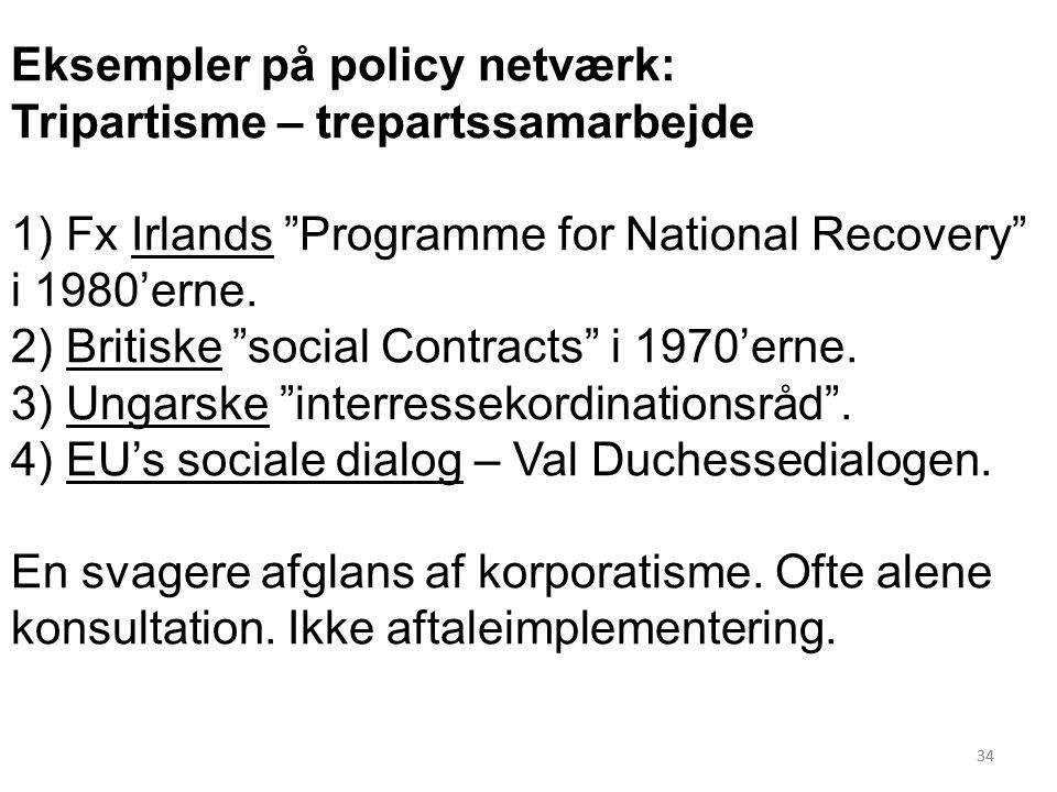 34 Eksempler på policy netværk: Tripartisme – trepartssamarbejde 1) Fx Irlands Programme for National Recovery i 1980'erne.