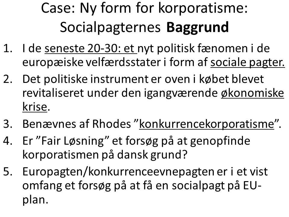 Case: Ny form for korporatisme: Socialpagternes Baggrund 1.I de seneste 20-30: et nyt politisk fænomen i de europæiske velfærdsstater i form af sociale pagter.