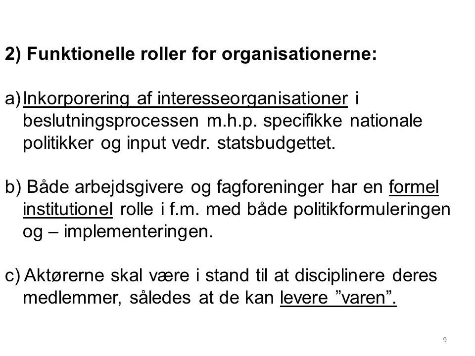 99 2) Funktionelle roller for organisationerne: a)Inkorporering af interesseorganisationer i beslutningsprocessen m.h.p.