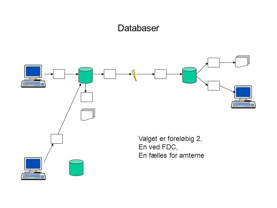 Databaser Valget er foreløbig 2, En ved FDC, En fælles for amterne