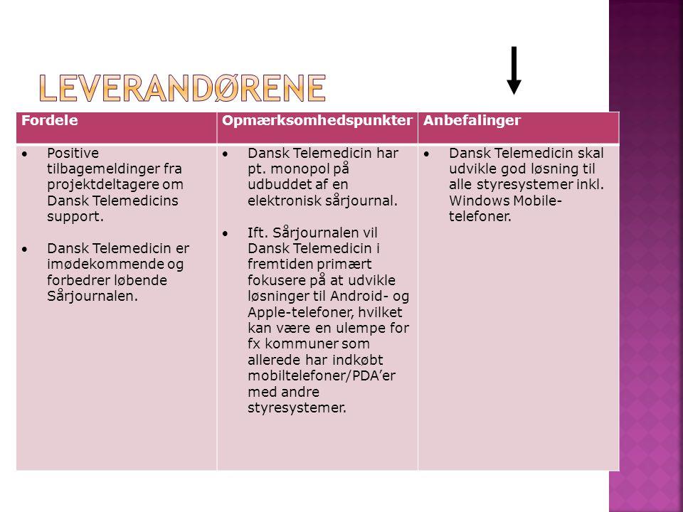 FordeleOpmærksomhedspunkterAnbefalinger Positive tilbagemeldinger fra projektdeltagere om Dansk Telemedicins support.