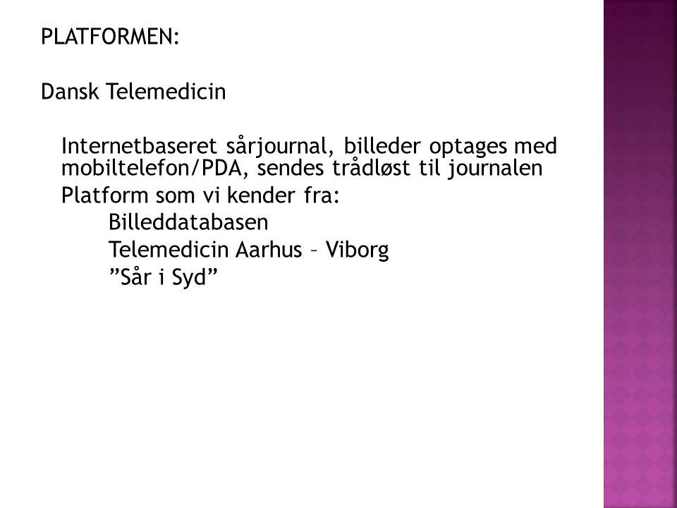 PLATFORMEN: Dansk Telemedicin Internetbaseret sårjournal, billeder optages med mobiltelefon/PDA, sendes trådløst til journalen Platform som vi kender fra: Billeddatabasen Telemedicin Aarhus – Viborg Sår i Syd