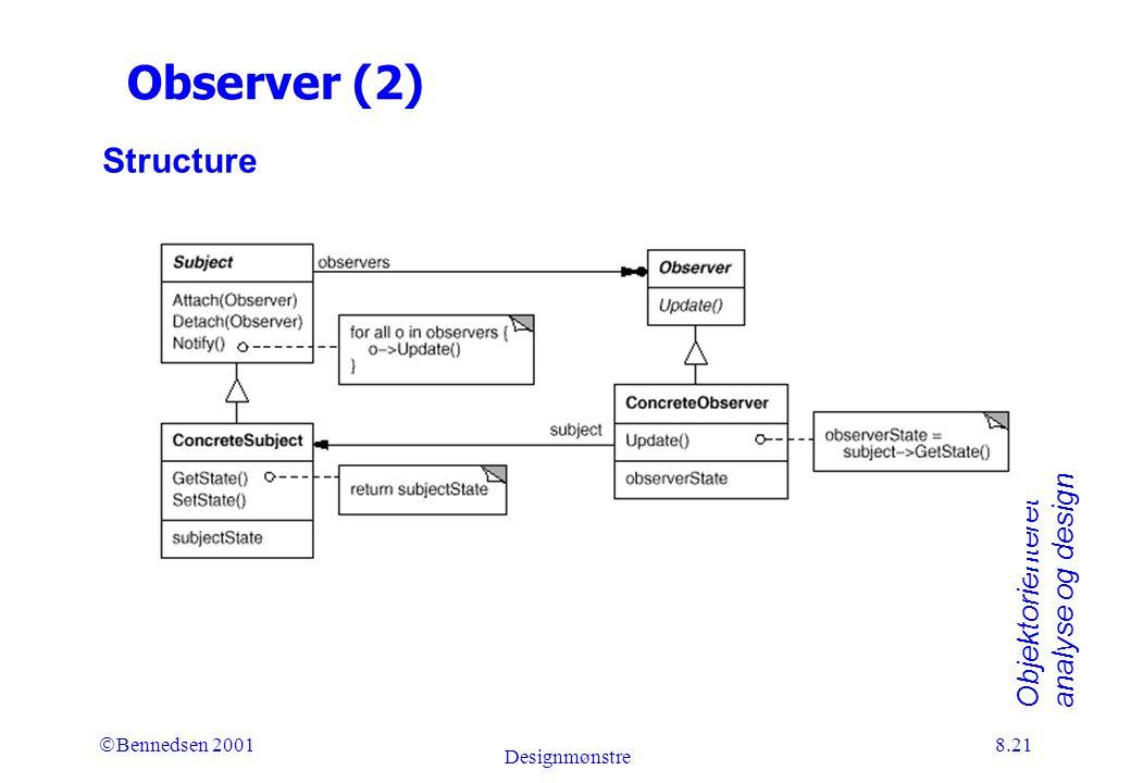Objektorienteret analyse og design Ó Bennedsen 2001 Designmønstre 8.21 Observer (2) Structure