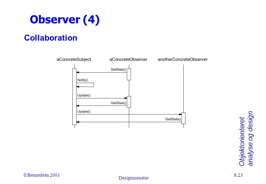 Objektorienteret analyse og design Ó Bennedsen 2001 Designmønstre 8.23 Observer (4) Collaboration