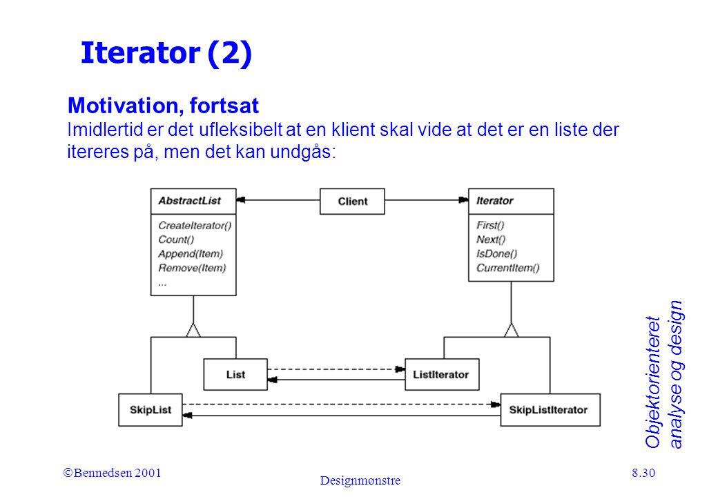 Objektorienteret analyse og design Ó Bennedsen 2001 Designmønstre 8.30 Iterator (2) Motivation, fortsat Imidlertid er det ufleksibelt at en klient skal vide at det er en liste der itereres på, men det kan undgås: