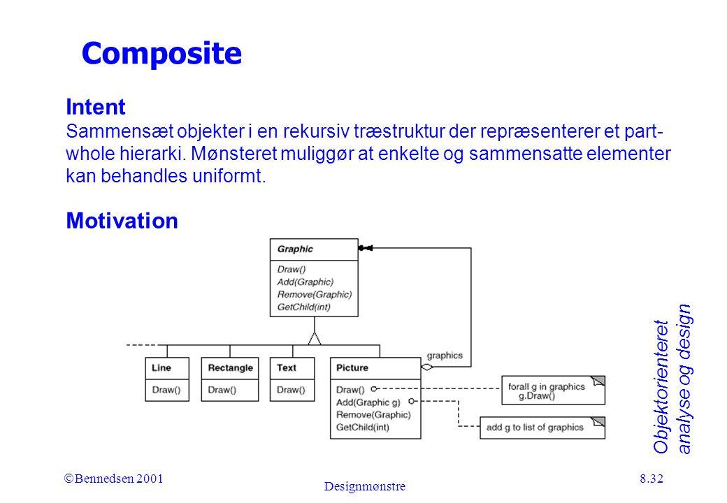 Objektorienteret analyse og design Ó Bennedsen 2001 Designmønstre 8.32 Composite Intent Sammensæt objekter i en rekursiv træstruktur der repræsenterer et part- whole hierarki.