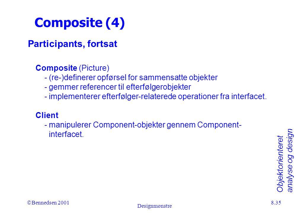 Objektorienteret analyse og design Ó Bennedsen 2001 Designmønstre 8.35 Composite (4) Participants, fortsat Composite (Picture) - (re-)definerer opførsel for sammensatte objekter - gemmer referencer til efterfølgerobjekter - implementerer efterfølger-relaterede operationer fra interfacet.
