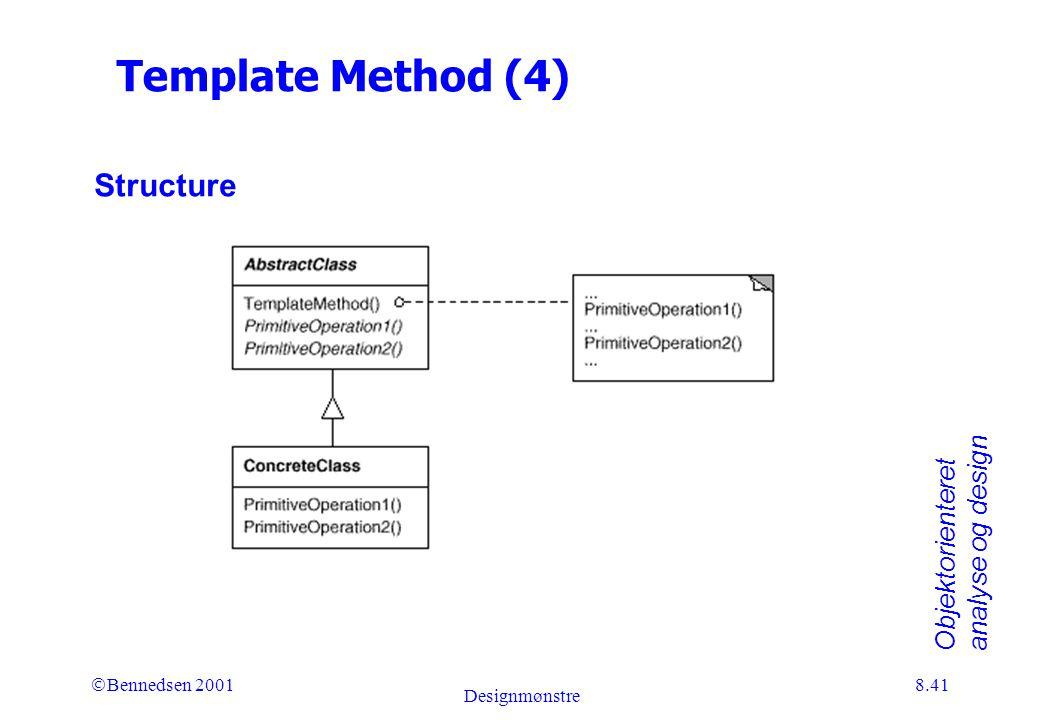 Objektorienteret analyse og design Ó Bennedsen 2001 Designmønstre 8.41 Template Method (4) Structure