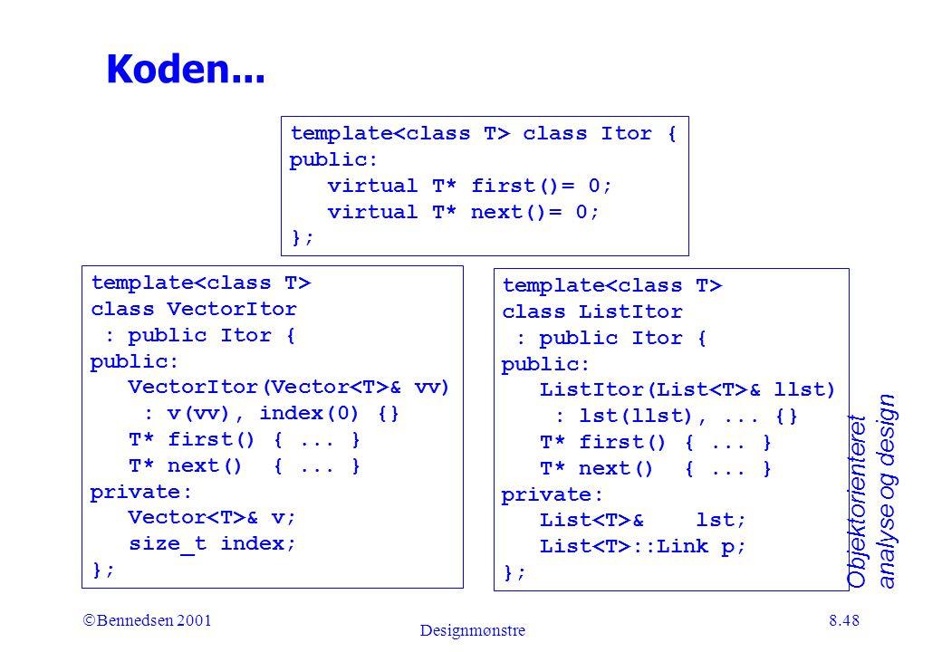 Objektorienteret analyse og design Ó Bennedsen 2001 Designmønstre 8.48 Koden...
