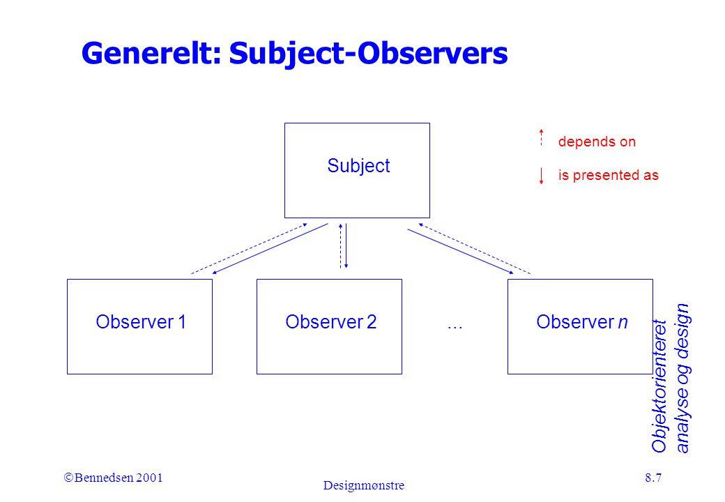 Objektorienteret analyse og design Ó Bennedsen 2001 Designmønstre 8.7 Generelt: Subject-Observers Subject Observer 1Observer 2Observer n...