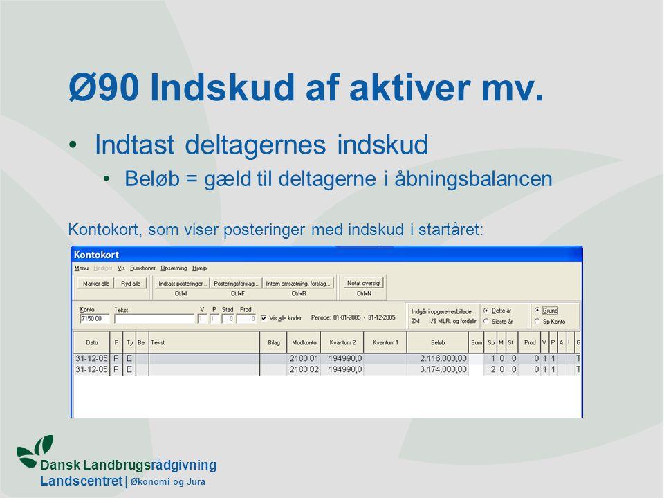 Dansk Landbrugsrådgivning Landscentret | Økonomi og Jura Ø90 Indskud af aktiver mv.