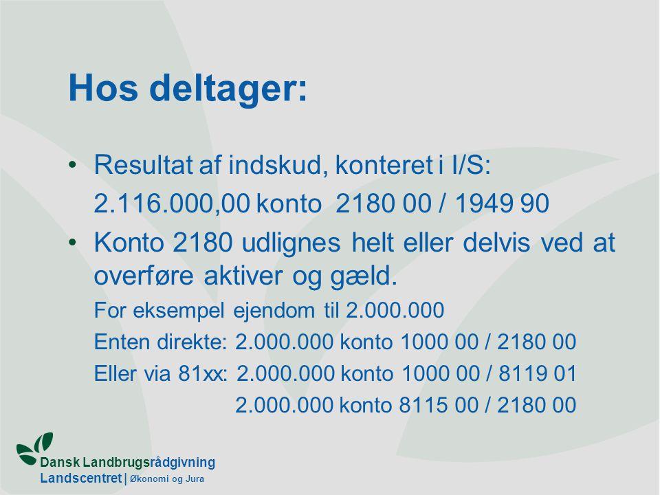 Dansk Landbrugsrådgivning Landscentret | Økonomi og Jura Hos deltager: R esultat af indskud, konteret i I/S: 2.116.000,00 konto 2180 00 / 1949 90 Konto 2180 udlignes helt eller delvis ved at overføre aktiver og gæld.