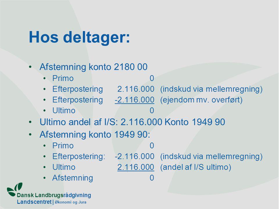 Dansk Landbrugsrådgivning Landscentret | Økonomi og Jura Hos deltager: Afstemning konto 2180 00 Primo0 Efterpostering2.116.000(indskud via mellemregning) Efterpostering-2.116.000(ejendom mv.