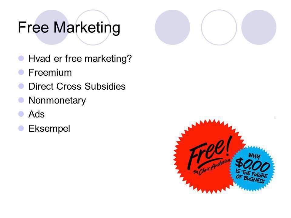Free Marketing Hvad er free marketing Freemium Direct Cross Subsidies Nonmonetary Ads Eksempel