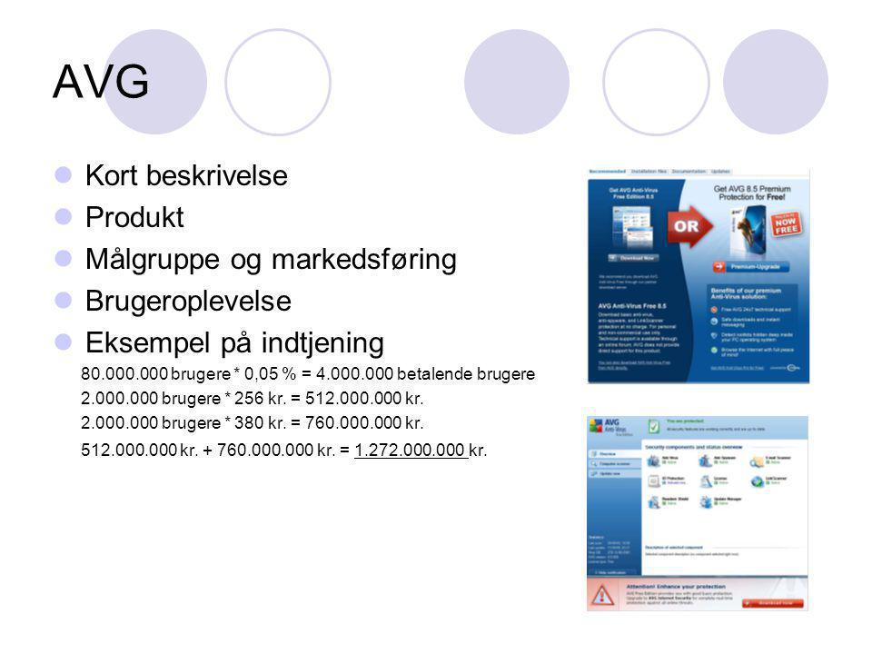 AVG Kort beskrivelse Produkt Målgruppe og markedsføring Brugeroplevelse Eksempel på indtjening 80.000.000 brugere * 0,05 % = 4.000.000 betalende brugere 2.000.000 brugere * 256 kr.