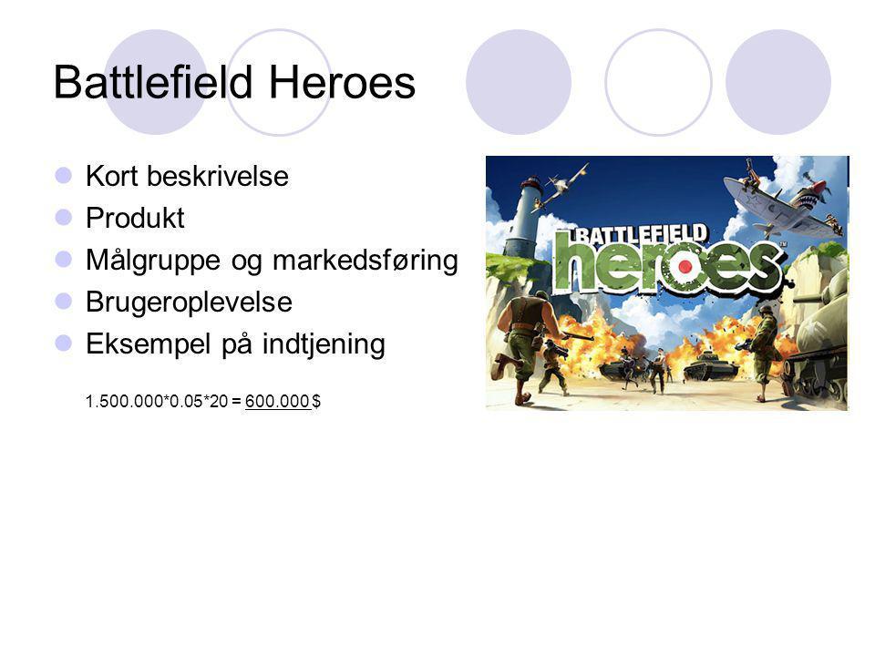Battlefield Heroes Kort beskrivelse Produkt Målgruppe og markedsføring Brugeroplevelse Eksempel på indtjening 1.500.000*0.05*20 = 600.000 $