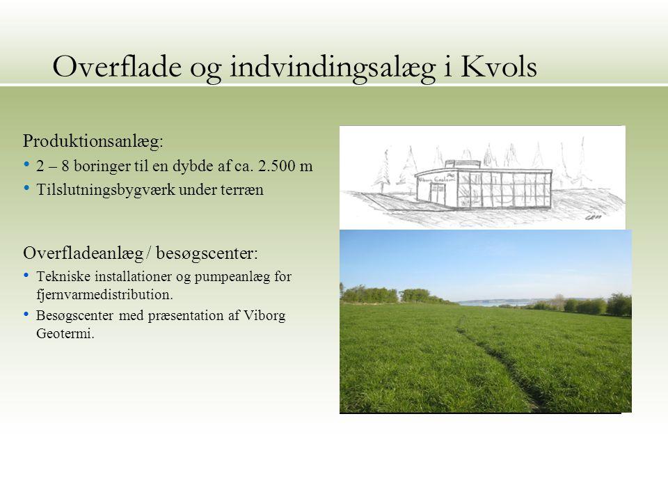 Overflade og indvindingsalæg i Kvols Produktionsanlæg: 2 – 8 boringer til en dybde af ca.