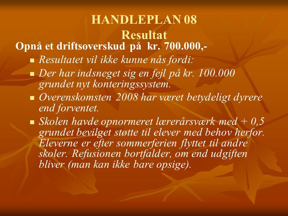 HANDLEPLAN 08 Resultat Opnå et driftsoverskud på kr.