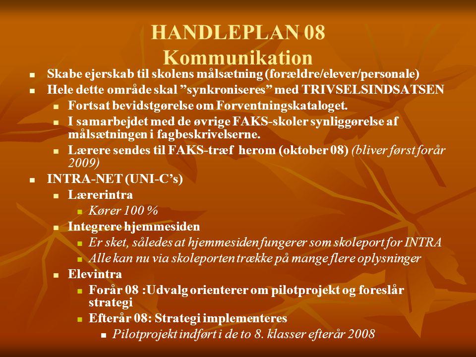 HANDLEPLAN 08 Kommunikation Skabe ejerskab til skolens målsætning (forældre/elever/personale) Hele dette område skal synkroniseres med TRIVSELSINDSATSEN Fortsat bevidstgørelse om Forventningskataloget.