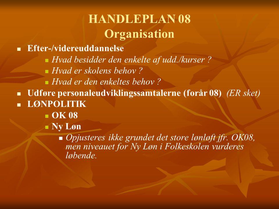 HANDLEPLAN 08 Organisation Efter-/videreuddannelse Hvad besidder den enkelte af udd./kurser .